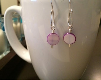 handmade simple purple shell coin earrings