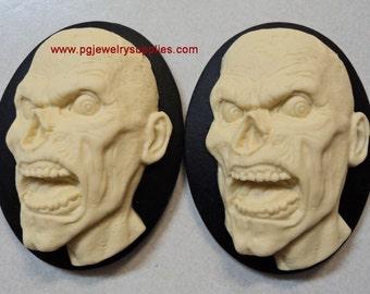 40mm x 30mm zombie monster head resin cameos ivory black 2 pcs lot l