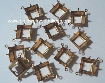 12mm square brass open back prong connector settings OB 2R 12 pc lot l