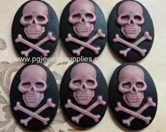 18x13 oval Skull and bones crossbones pirate cameos 6 pcs per lot