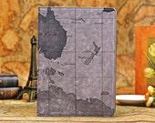 leather ipad air case, world map ipad 5 case, vintage ipad 5 case, iPad 5 Smart Cover Auto Wake / Sleep