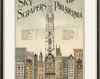 Skyscrapers Philadelphia art print poster old prints Wall poster art home decor wall print antique prints city print architectural art