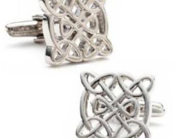 Silver Celtic Knot Cufflinks Cuff Links