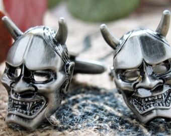 Voodoo Mask Cufflinks Pewter Like Devil Head Cuff Links