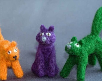 Needle felted Miniature Cats, Orange, Green & Purple pocket friends
