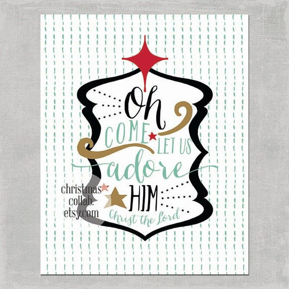 Oh Come Let Us Adore Him in Mint & Red - Christmas Holiday Art Print Home Decor 8x10