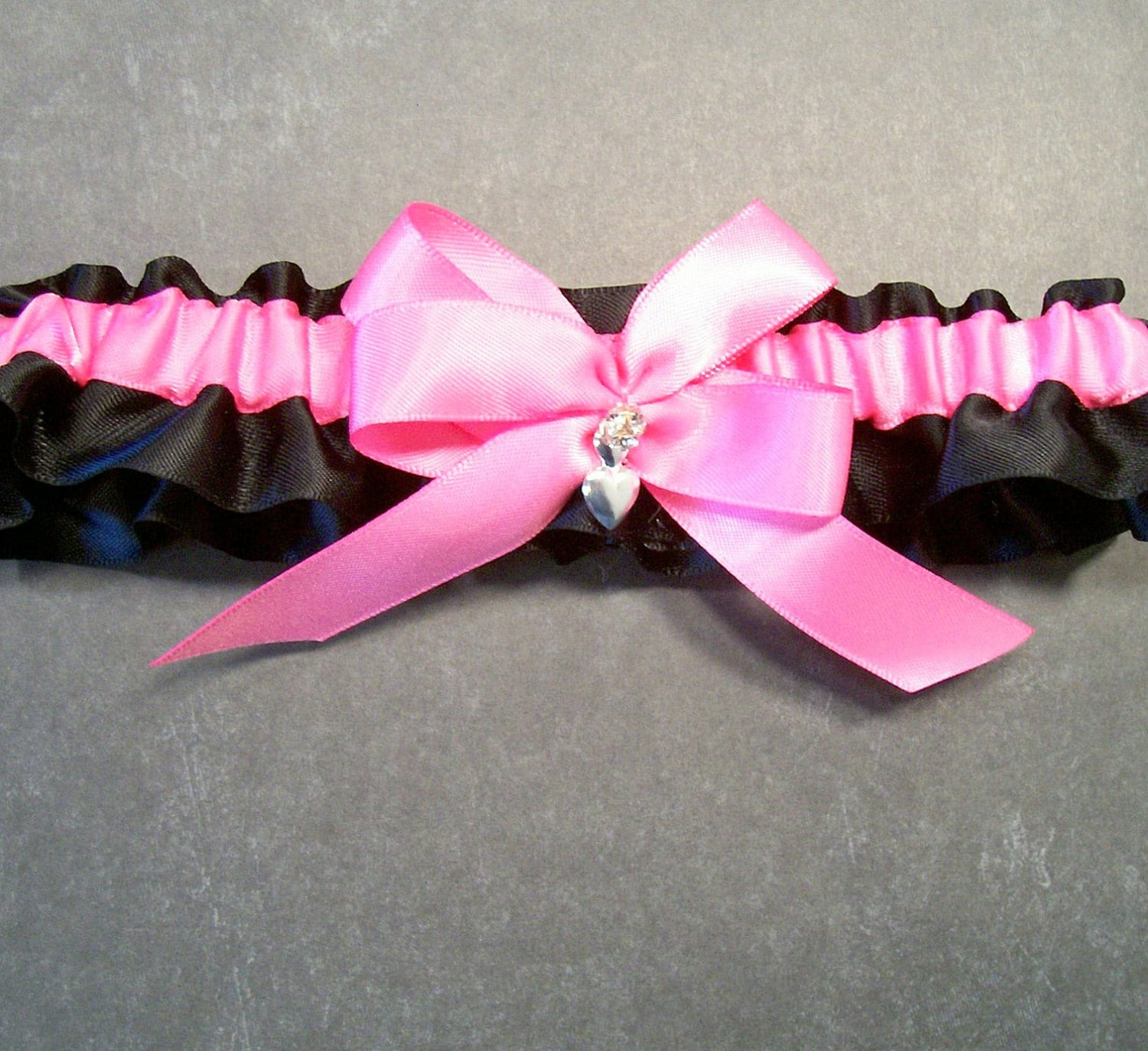 Red Wedding Garters: Hot Pink On Black Wedding Garter Bridal Garter By