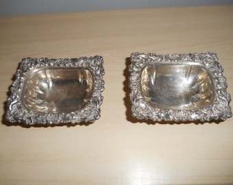 Vintage small Embossed silver plate candy or trinket dish set