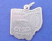 OHIO Charm, STATE Of Ohio Charm .925 Sterling Silver