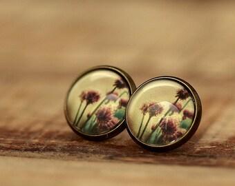 Glass cabochons earrings * flowers * e102