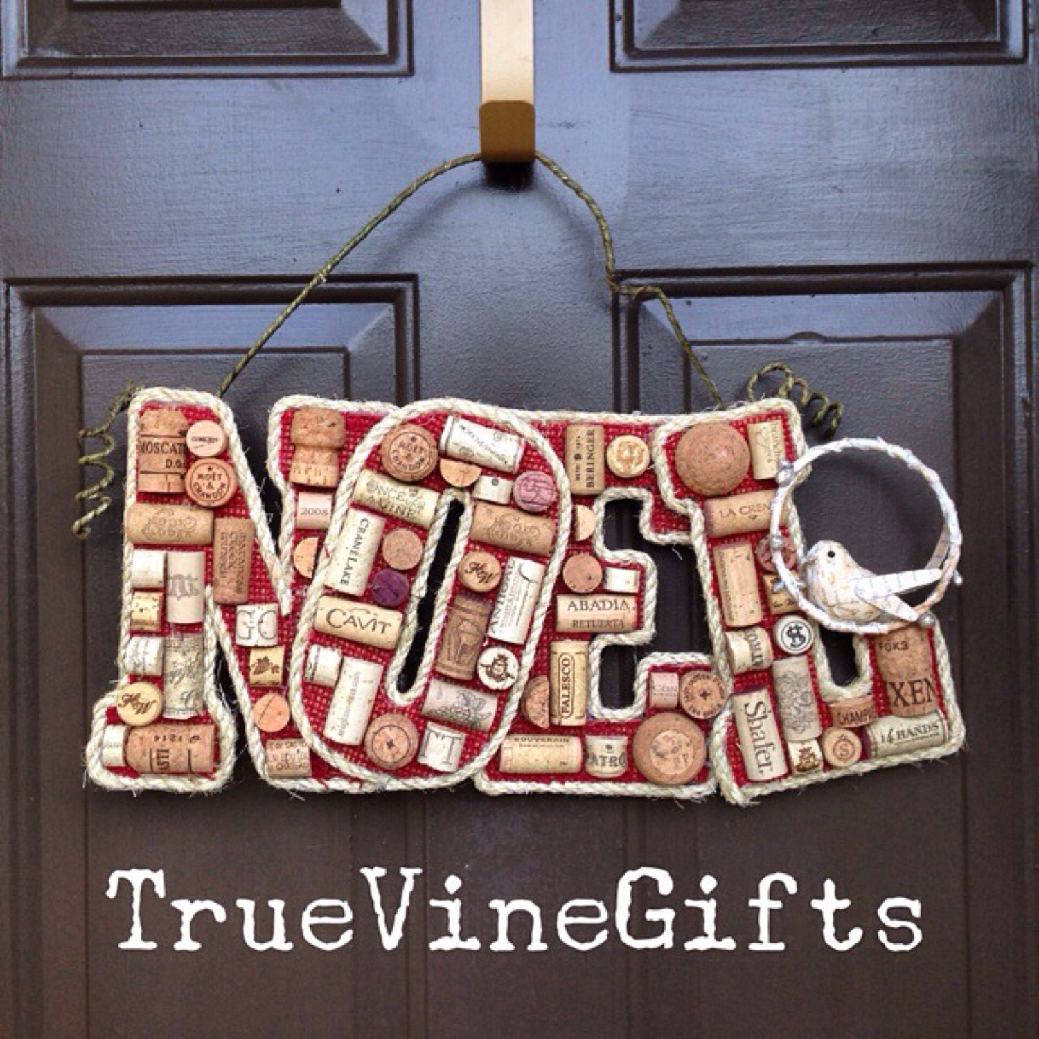 The Noel Wine Cork door hanger