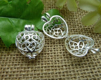 2 Silver Lovely High Quality Brass Filigree Wish Box Magic Box Charm Pendant ( open double sided and 3D )  - No.C7563