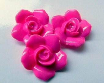 20 psc Hot Pink Rose Vintage Plastic Lucite Flat Back Cabachon , Cabs  23,5mm ,  cb070