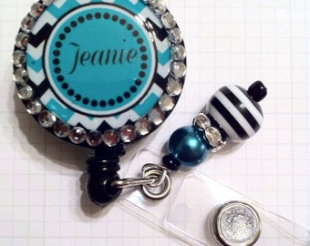 Chevron Monogram ID BADGE REEL Bling  w/charm