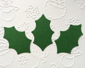 50 Large Holly Leaves die cuts for christmas cards toppers cardmaking scrapbooking craft