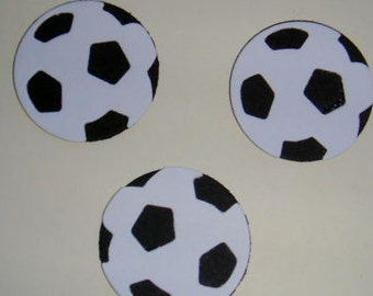 20 Black & White Football die cuts for mens/boys card toppers cardmaking scrapbooking - male cards