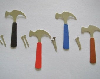 10 Hammers with Nails Die cuts for mens/boys cards toppers cardmaking scrapbooking