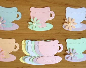30 Pastel Teacups die cuts for Cards,toppers, scrapbooking and papercraft