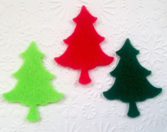 20 Felt Christmas Tree Die Cuts for Card Making Card Toppers Scrapbooking Stitch Craft Project Children's Craft