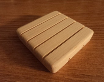 """Large Square Wooden Soap Dish from Sustainable Pine // 3.25"""" Square Soap Saver Deck"""