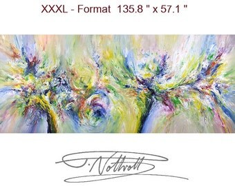 """135.8 """" x 57.1 """" XL Large Abstract Painting Original XL Acrylic Canvas Big Size Abstrakt Großes Gemälde ,UNSTRETCHED! by Peter Nottrott"""