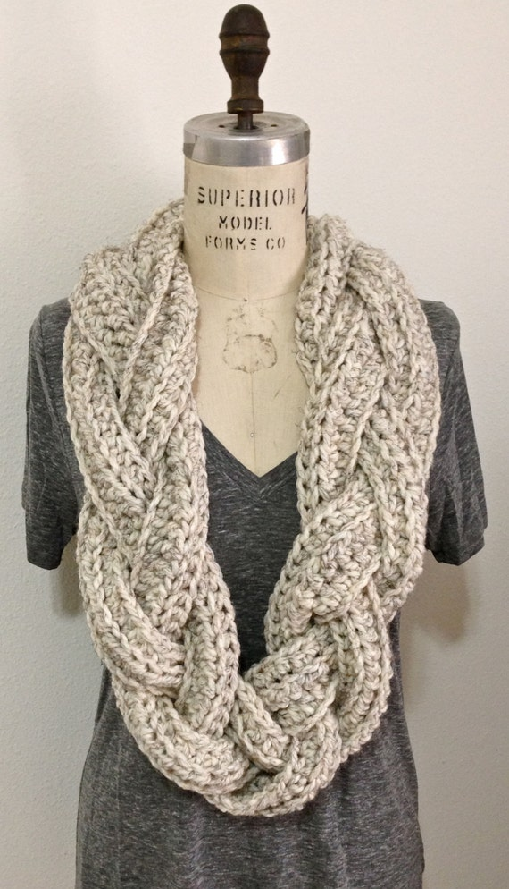 Items similar to Chunky Braided Infinity Scarf on Etsy