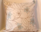 """Cushion cover, 20""""X20"""", in beautiful high quality fabric, beige and light blue"""