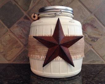 Texas Star Cookie Jar, Rustic Kitchen, Cookie Jar