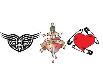 Heart tattoo pack of 3. Temporary tattoos. Party fake tattoo