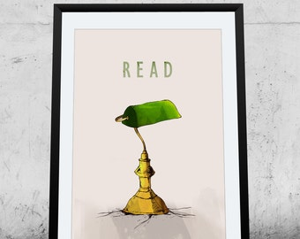 Printable Poster, Instant Download,banker's lamp, wall decor, illustration