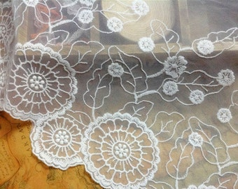 "11"" circle lace trim,DIY handmade trim,ivory white lace fabric"