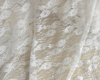 Off White Stretch Lace Fabric by the Yard, Wedding Lace Fabric, Bridal Lace Fabric
