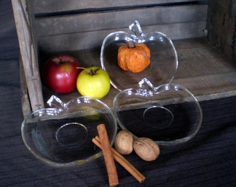 Clear Glass Apple Plates - Set of 3
