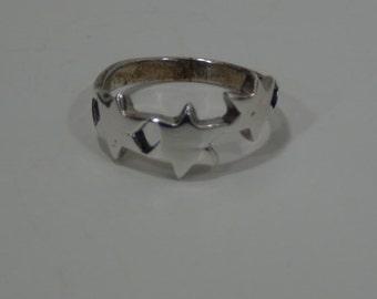 Sterling Silver 925 Triple Star Ring