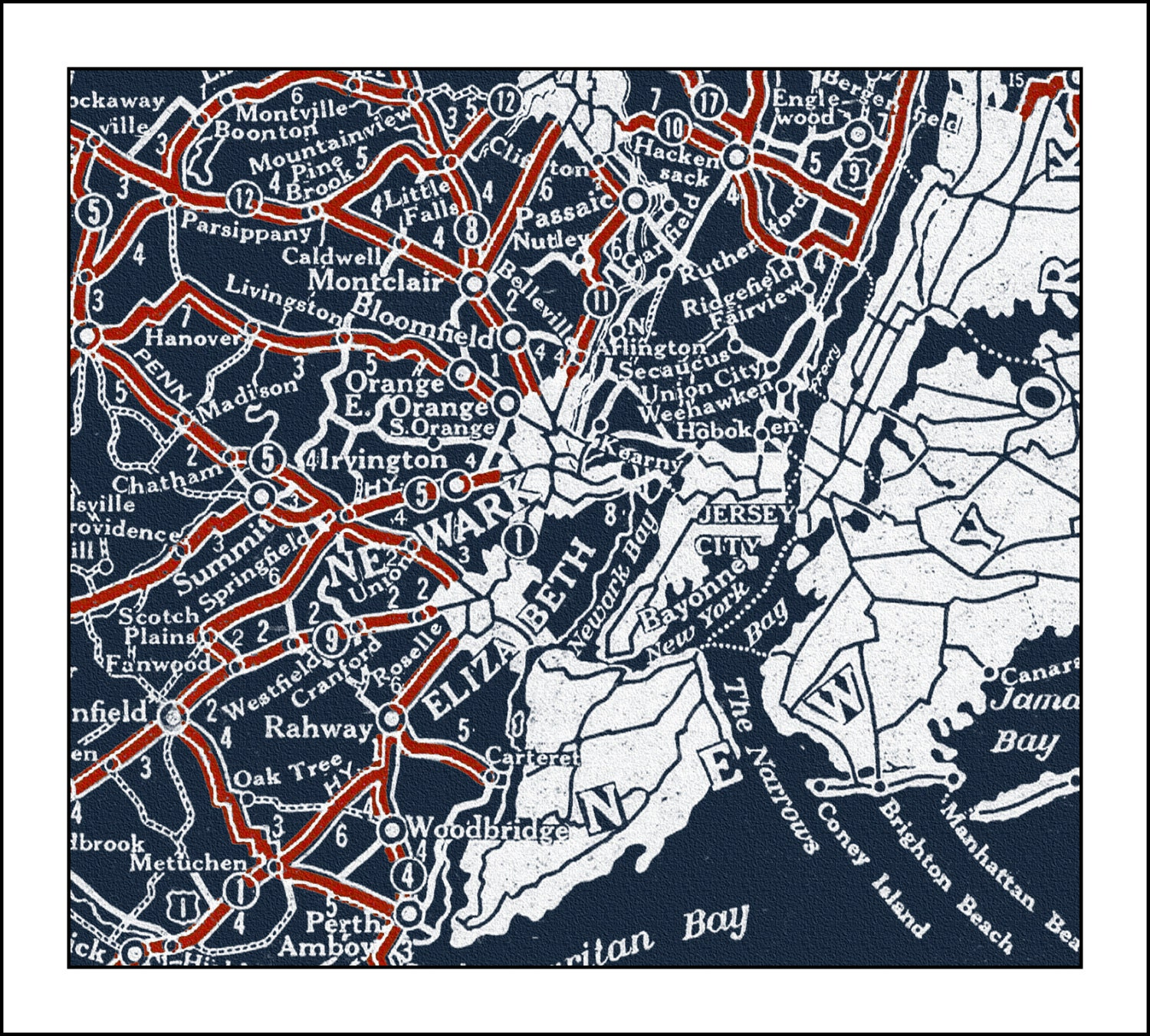 New Jersey Map Map Of New Jersey NJ Blueprint Map Vintage Map - Nj road map