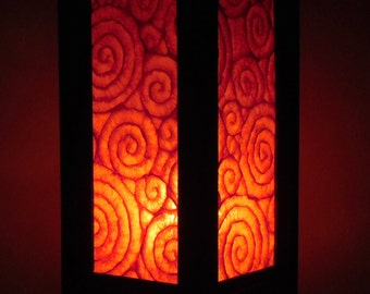 Thai Handmade Asian Oriental Spiral Orange Color Paper Lamp Shade Bedside Table Light Home Decor Bedroom Decoration Modern Thailand