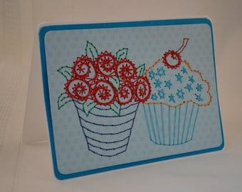 Cupcake birthday card. Embroidered cupcakes