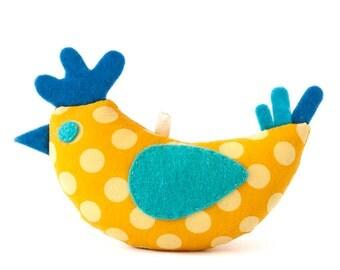 Spring textile yellow chicken, soft bird, Easter decor, spring decoration.