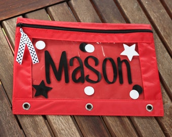 Personalized Monogram  Pencil Case Pouch Back to School Name Stars and Polka Dots