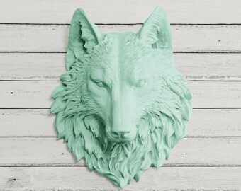 The Sierra in Mint - Turquoise Green - Wolf Faux Taxidermy Fauxidermy Fake Animal Head Mount - Decorative Ceramic Plastic Resin Wall Decor