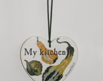 Rustic wooden kitchen Ornamental Gourds wall plaque