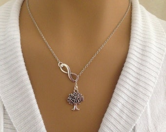 Lariat Style Silver Infinity and Tree Necklace