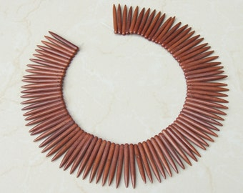 Brown Turquoise Points Spikes -16 inch Strand. - 5mm x 45mm Long