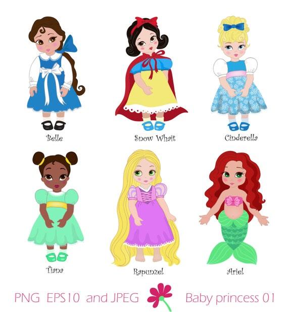 Disney Princess Baby Cinderella: Princess In Childhood.Digital Clipart Set Baby By