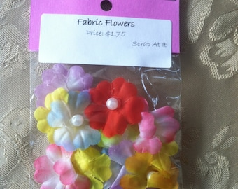 Fabric Flowers with Pearl Centers