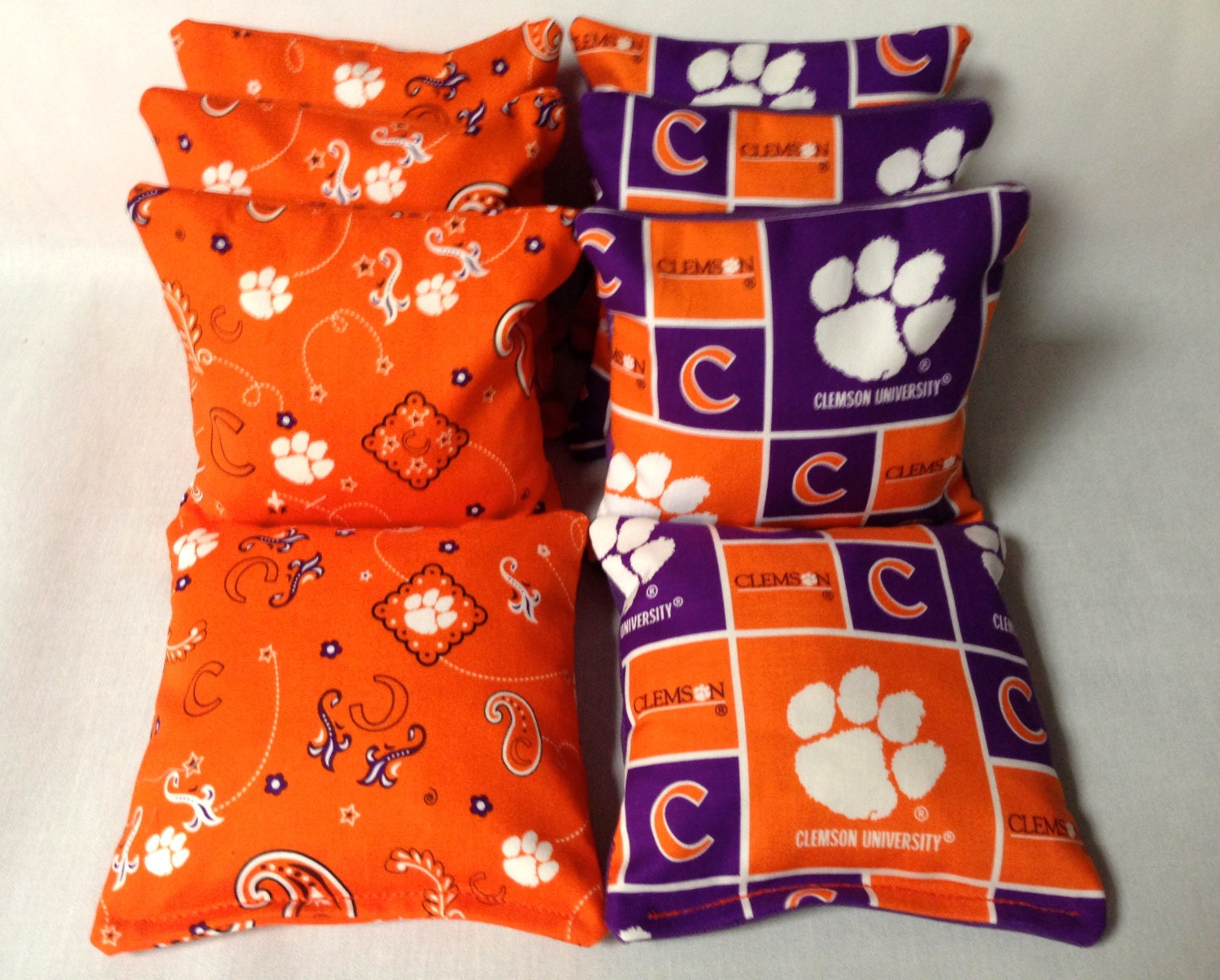 CLEMSON TIGERS 8 Cornhole Bags Bean Toss Bago 4 Of Each