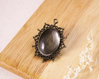 DIY 18mm x 25mm Crystal clear glass with bronze pendant kit