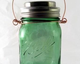 Green Ball Mason Jar Hanging Solar Light
