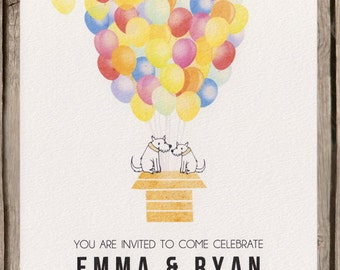 Colourful balloon wedding invitation