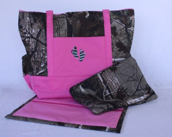 Camo and Pink Personalized Baby Girl Diaper Bag Tote Set With Matching Clutch and Changing Pad